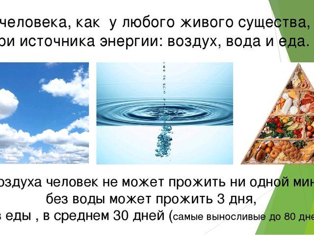 У человека, как у любого живого существа, три источника энергии: воздух, вода...