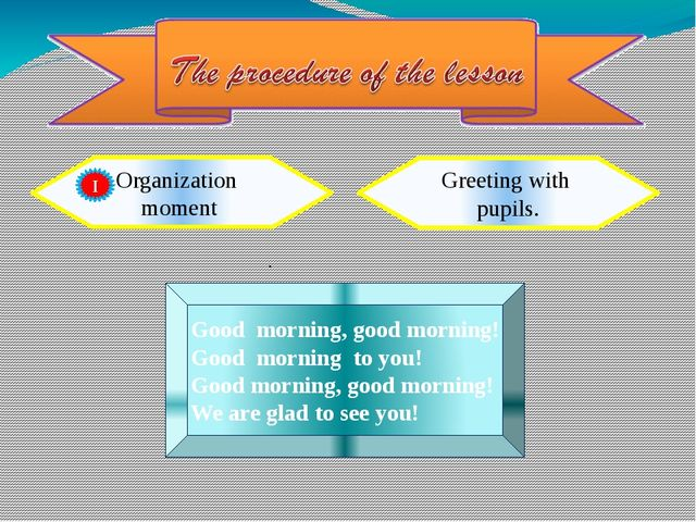 Organization moment Greeting with pupils. . Good morning, good morning! Good...