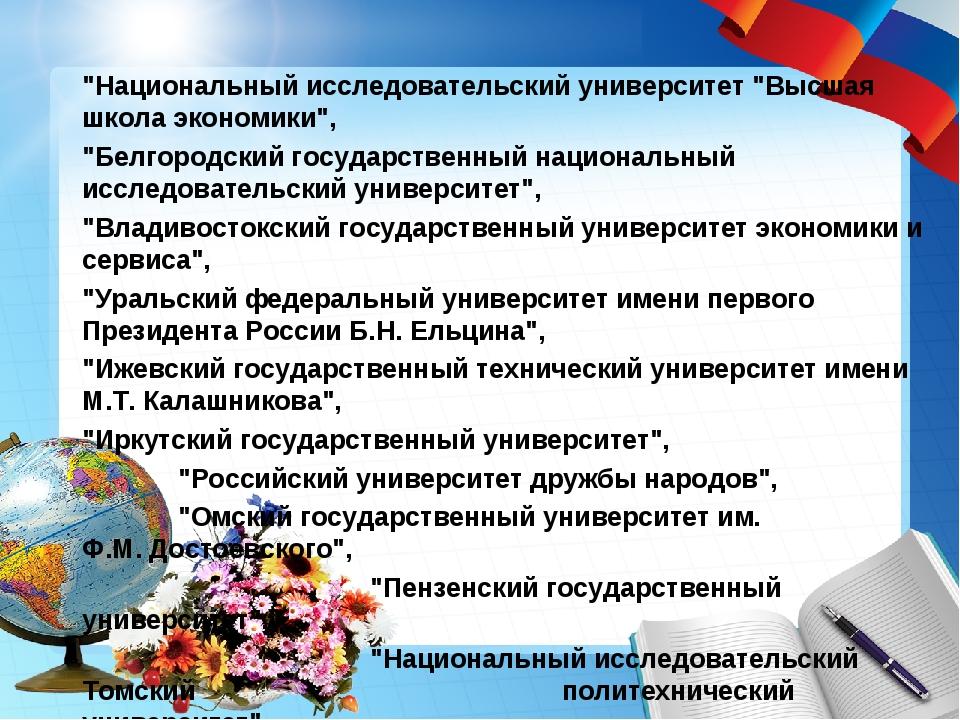 """""""Национальный исследовательский университет """"Высшая школа экономики"""", """"Белгор..."""