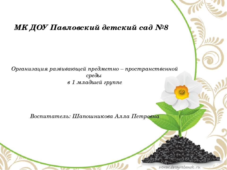 МК ДОУ Павловский детский сад №8 Организация развивающей предметно – простра...