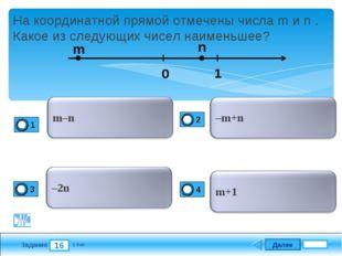 Далее 16 Задание 1 бал. На координатной прямой отмечены числа m и n . Какое и
