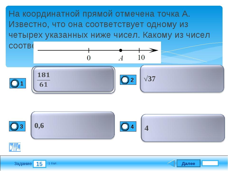 Далее 15 Задание 1 бал. На координатной прямой отмечена точка А. Известно, чт...