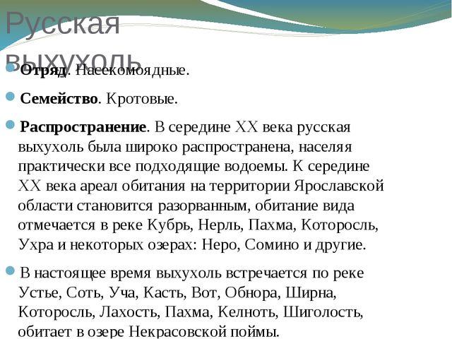 Русская выхухоль Отряд. Насекомоядные. Семейство. Кротовые. Распространение....