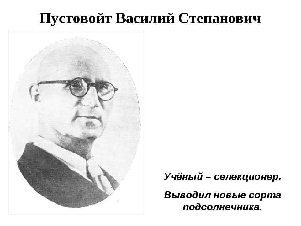 Пустовойт Василий Степанович Учёный – селекционер. Выводил новые сорта подсол...