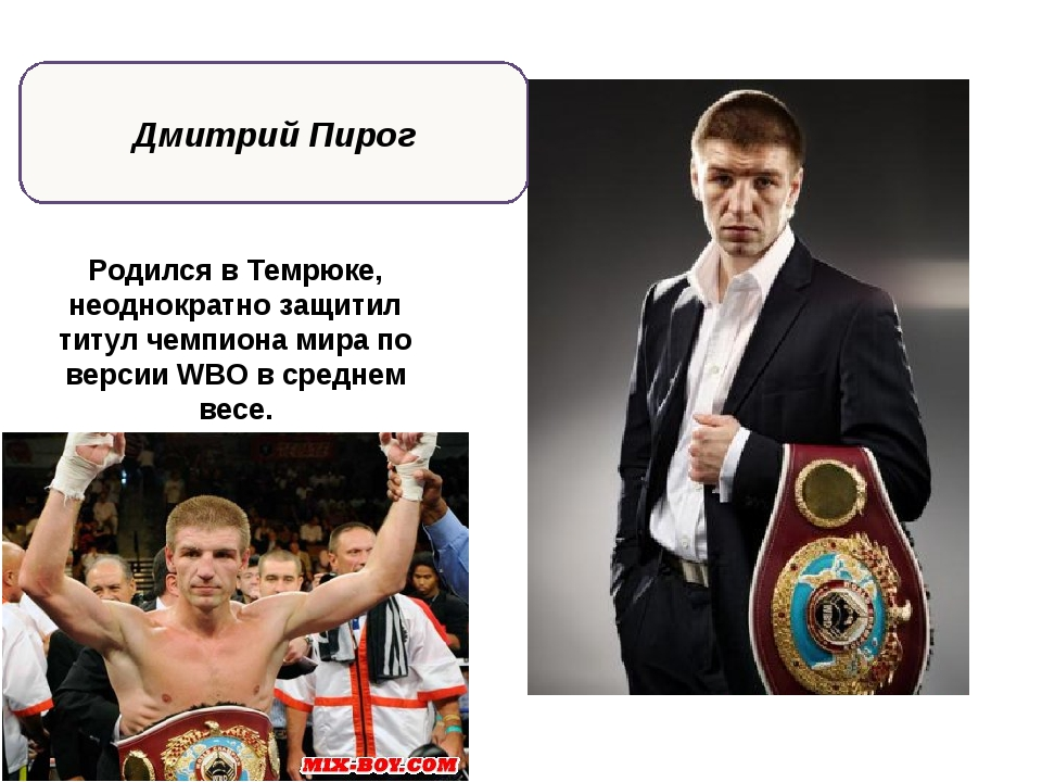 Дмитрий Пирог Родился в Темрюке, неоднократно защитил титул чемпиона мира по...