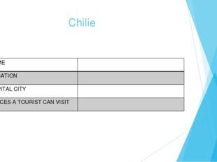 Chilie NAME LOCATION CAPITAL CITY PLACES A TOURIST CAN VISIT