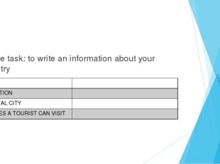 Home task: to write an information about your country NAME LOCATION CAPITAL