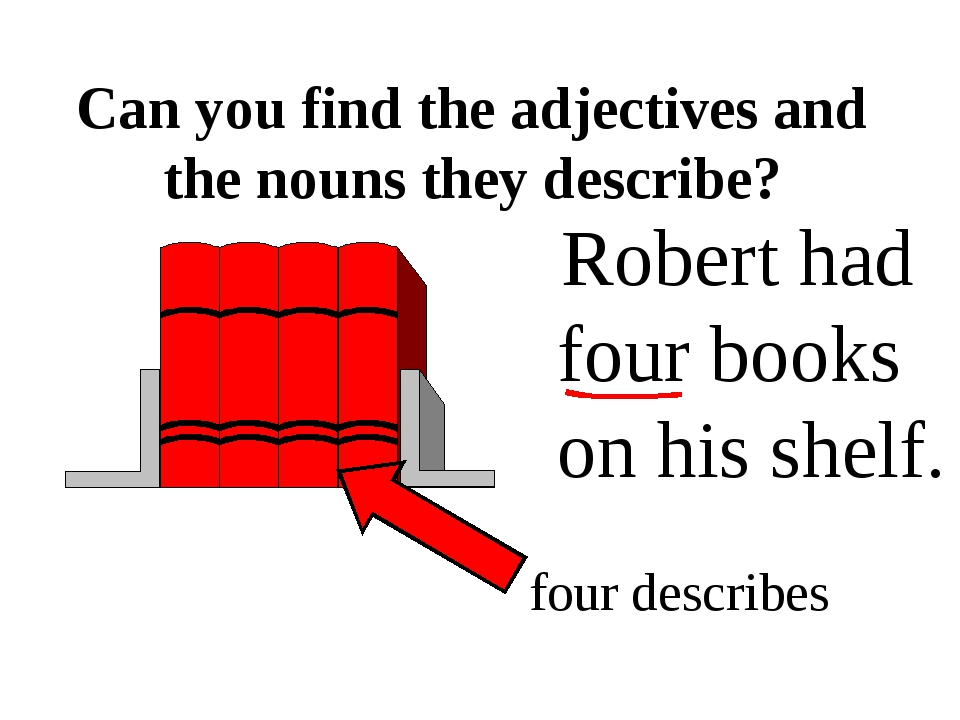 Robert had four books on his shelf. Can you find the adjectives and the noun...