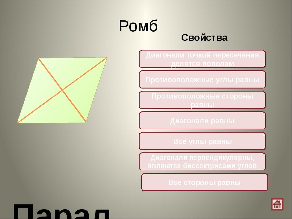 Квадрат Параллелограмм, у которого все углы прямые и стороны равны Свойства Д...