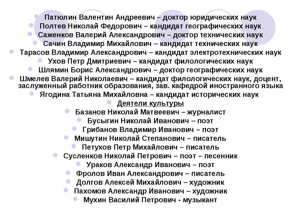 Патюлин Валентин Андреевич – доктор юридических наук Полтев Николай Федорович...
