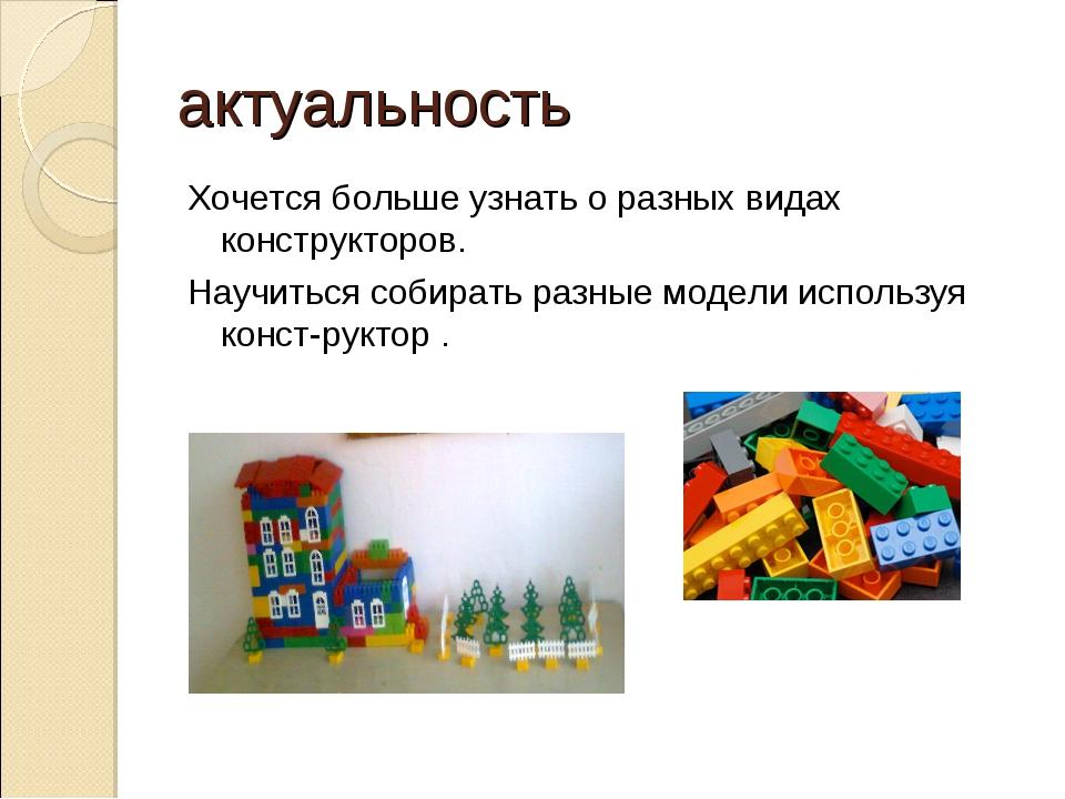 актуальность Хочется больше узнать о разных видах конструкторов. Научиться со...