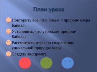 1. Повторить всё, что знаем о природе озера Байкал. 2. Установить, что угрожа