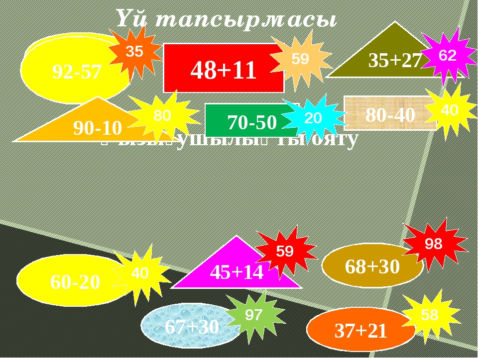 29+17 Қызығушылықты ояту 48+11 70-50 80-40 92-57 68+30 60-20 35+27 90-10 45+...