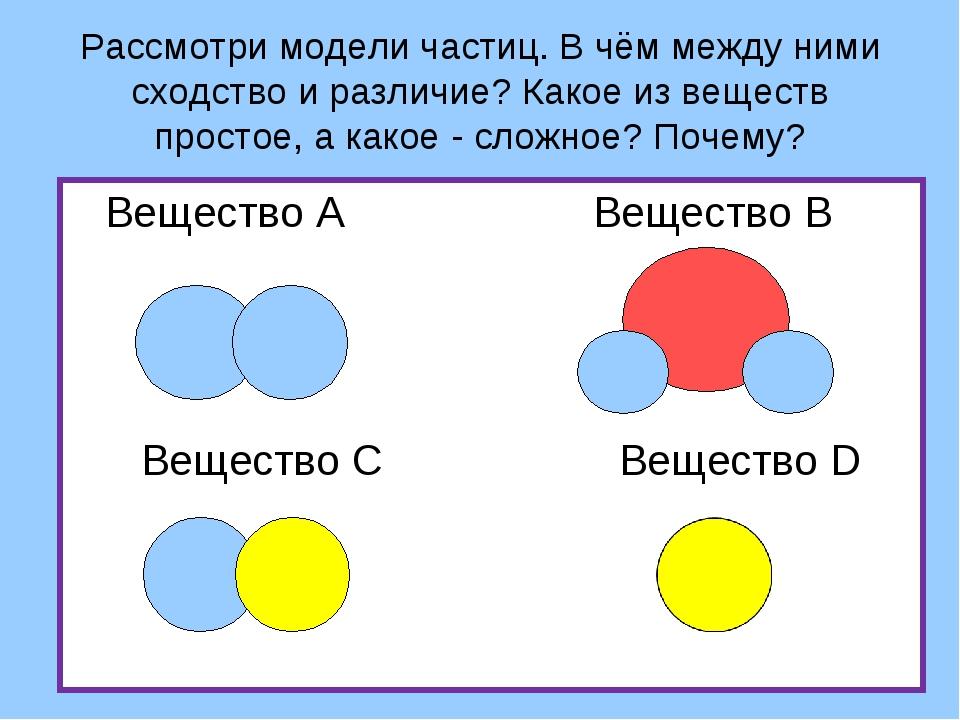 Рассмотри модели частиц. В чём между ними сходство и различие? Какое из вещес...