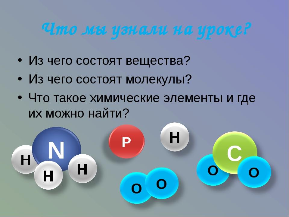 Что мы узнали на уроке? Из чего состоят вещества? Из чего состоят молекулы? Ч...