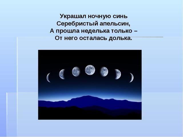 Украшал ночную синь Серебристый апельсин, А прошла неделька только – От него...