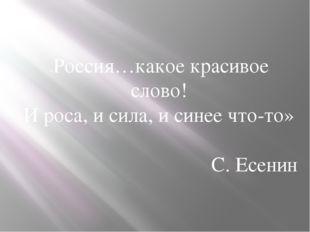 «Россия…какое красивое слово! И роса, и сила, и синее что-то» С. Есенин