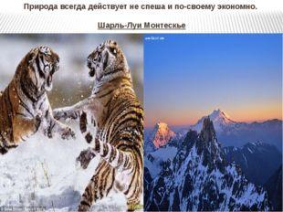 Природа всегда действует не спеша и по-своему экономно. Шарль-Луи Монтескье