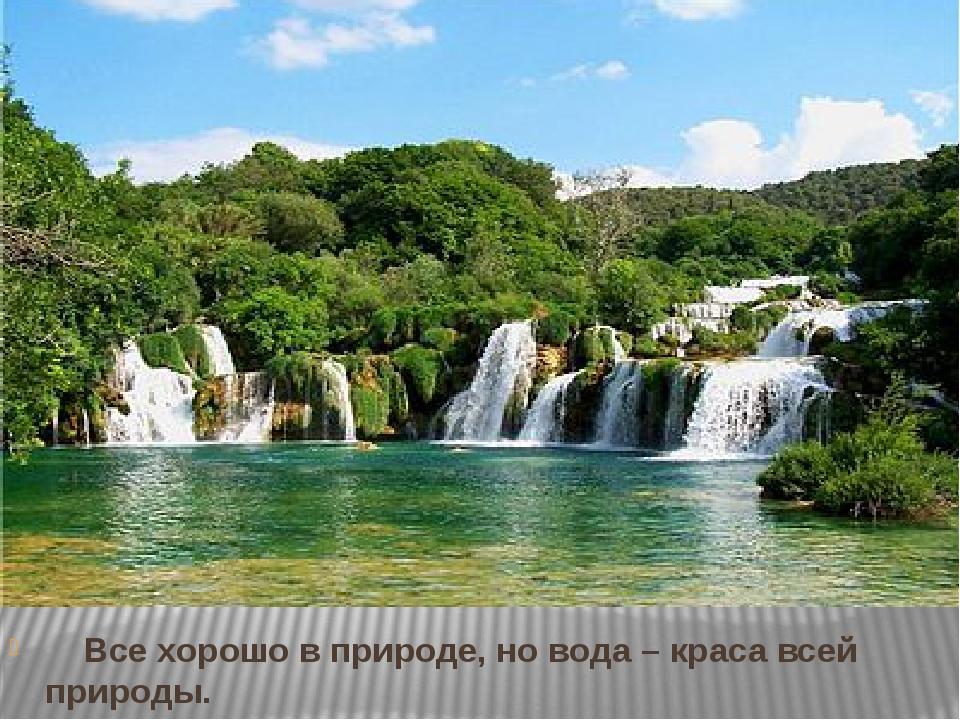 Все хорошо в природе, но вода – краса всей природы.  С.Т. Аксаков
