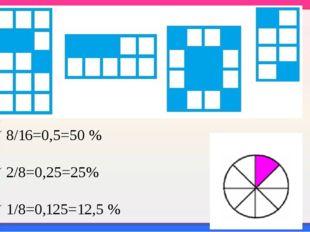 Задание 6 8/16=0,5=50 % 2/8=0,25=25% 1/8=0,125=12,5 %