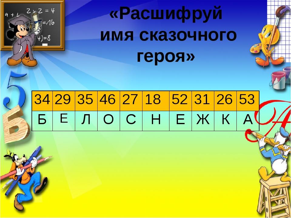 Заголовок слайда Текст слайда «Расшифруй имя сказочного героя» 34 29 35 46 27...