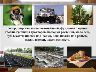 Топор, широкие шины автомобилей, фундамент здания, гвозди, гусеницы тракторов