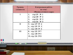 Уровень сложностиКонтрольная работа на тему: «Физика атомного ядра» Iстр.12