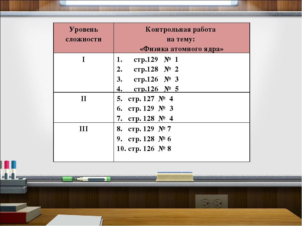 Уровень сложностиКонтрольная работа на тему: «Физика атомного ядра» Iстр.12...
