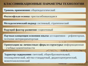 КЛАССИФИКАЦИОННЫЕ ПАРАМЕТРЫ ТЕХНОЛОГИИ Уровень применения: общепедагогический