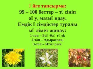 Үйге тапсырма: 99 – 100 беттер – түсініп оқу, мазмұндау. Емдік өсімдіктер тур