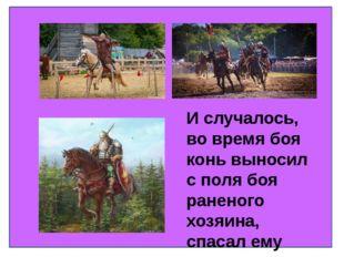 И случалось, во время боя конь выносил с поля боя раненого хозяина, спасал е