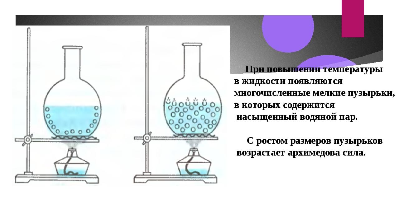 При повышении температуры в жидкости появляются многочисленные мелкие пузырь...