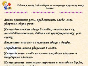 Ребенок к концу 1-ой четверти по литературе и русскому языку должен: Знать по