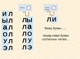 Ы а О У Э И Л Л Л Л Л Л Вижу буквы …, перед ними буквы согласных читаю… Ы а