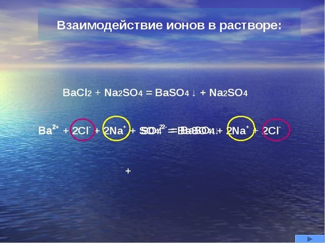 BaCl2 + Na2SO4 = BaSO4 ↓ + Na2SO4 Ba2+ + 2Cl- + 2Na+ + SO42- = BaSO4↓+ 2Na+ +...