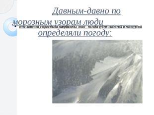 Давным-давно по морозным узорам люди определяли погоду: если веточки узоров