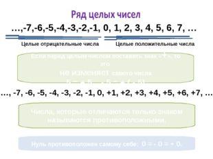 …,-7,-6,-5,-4,-3,-2,-1, 0, 1, 2, 3, 4, 5, 6, 7, … Целые положительные числа Ц