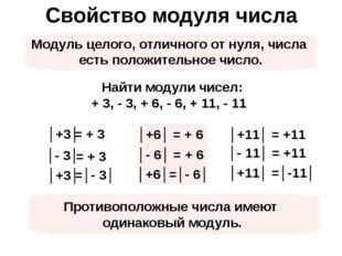 Свойство модуля числа Модуль целого, отличного от нуля, числа есть положитель