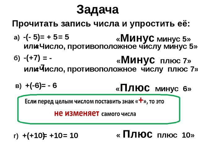 Задача Прочитать запись числа и упростить её: а) -(- 5) «Минус минус 5» или «...
