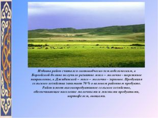 Издавна район считался скотоводческо-земледельческим, в Боргойской долине пол