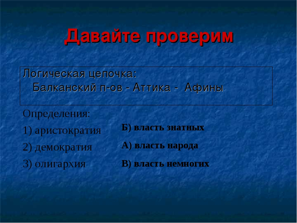 Давайте проверим Логическая цепочка: Балканский п-ов - Аттика - Афины  Опред...