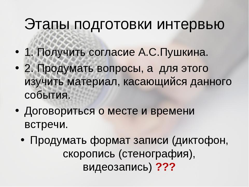 Этапы подготовки интервью 1. Получить согласие А.С.Пушкина. 2. Продумать вопр...