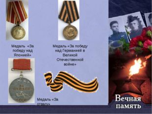 Медаль «За победу над Германией в Великой Отечественной войне» Медаль «За поб