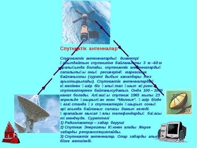 Спутниктік антенналар Спутниктік антенналардың диаметрі қабылдайтын спутнигін...