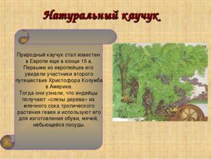 Натуральный каучук Природный каучук стал известен в Европе еще в конце 15 в.
