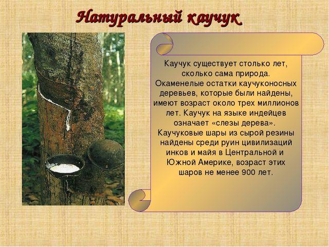 Натуральный каучук Каучук существует столько лет, сколько сама природа. Окаме...