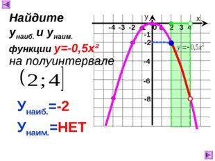 х у 1 2 3 4 0 -4 -3 -2 -1 -8 -1 -4 Унаиб.=-2 Унаим.=НЕТ Найдите унаиб. и унаи