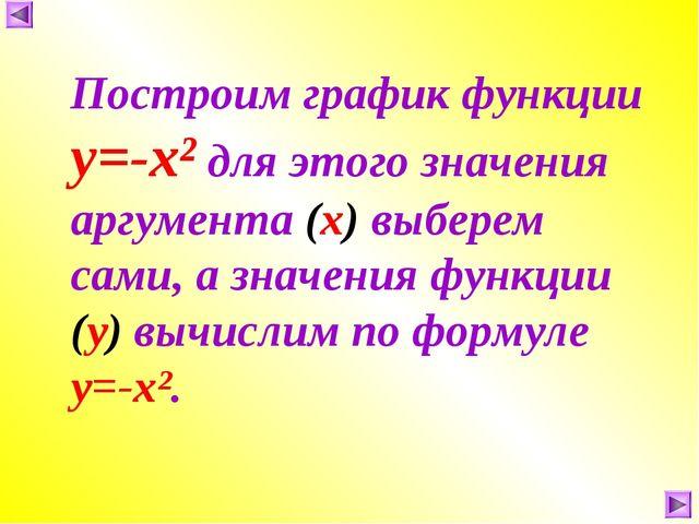 Построим график функции у=-х² для этого значения аргумента (х) выберем сами,...