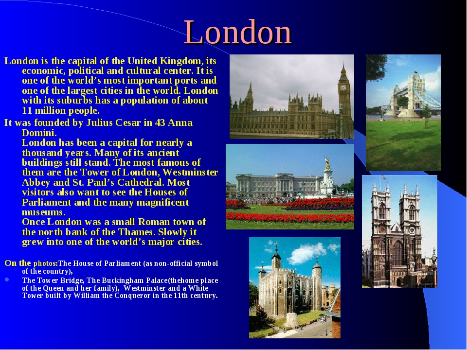 London London is the capital of the United Kingdom, its economic, political a...