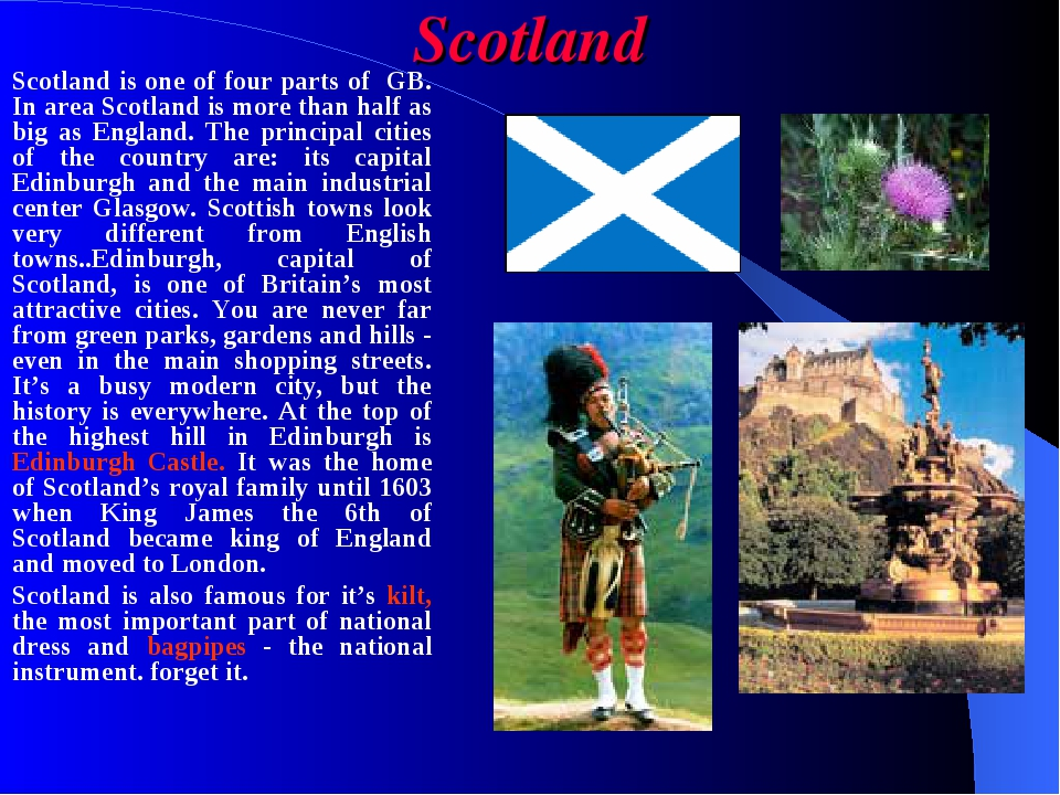 Scotland Scotland is one of four parts of GB. In area Scotland is more than h...